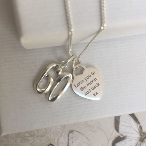 Personalised 60th birthday necklace - FREE ENGRAVING